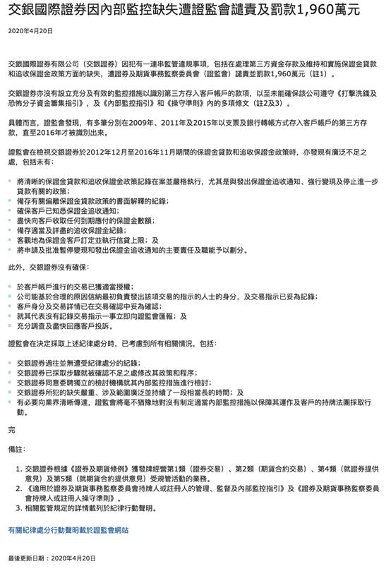 广州注册公司资金交银证券遭香港证监会罚款1960万 保证金政策缺失
